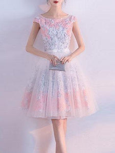 Cute Homecoming Dress A-line Scoop Knee-length Lace-up Short Prom Dresses,ED250055