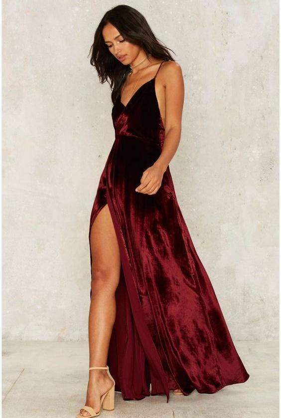 Cheap Prom Dresses Spaghetti Straps Floor-length Sexy Long Burgundy Prom Dresses,ED250056