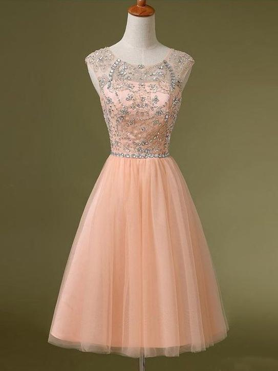 Cute Homecoming Dress A Line Scoop Rhinestone Tulle Short Prom Dresses,ED250058
