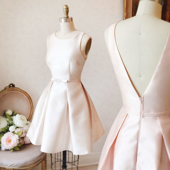 Cute Homecoming Dress A-line Scoop Bowknot Pearl Pink Short Prom Dresses,ED250060