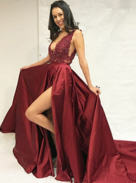 chic v-neck side slit burgundy A-line long prom dress,HB50