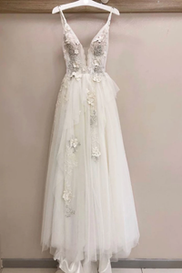 white tulle A-line long prom dress simple wedding dress, HB2087