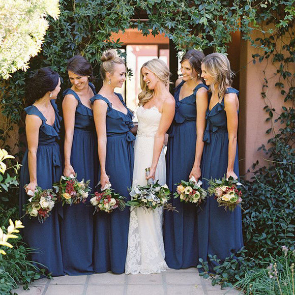 navy blue bridesmaid dress,long bridesmaid dress,chiffon bridesmaid dress,elegant bridesmaid dress,BD1635