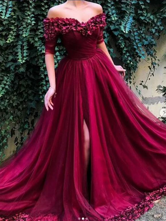 off shoulder burgundy side slit A line long prom dress,BP07