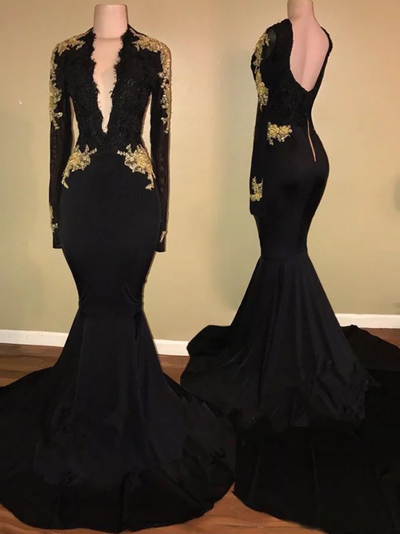 Black Long Sleeves Mermaid Deep V neck Sweep Train Prom Dress,B067