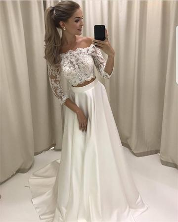 Boho Style Lace Sleeved Two Piece Wedding Dresses Beach Bridal Gowns,PD0714