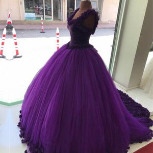 Purple Tulle Ball Gowns Flower Wedding Dresses Crystal Beaded Bodice ,PD0703