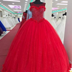 Tulle Scoop Neck Crystal Beaded Bodice Ball Gowns Flower Wedding Dresses,PD0713