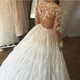 Ivory Lace Appliques Long Sleeves Ball Gowns Wedding Dresses ,PD0708