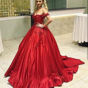 Red Satin Off The Shoulder Ball Gowns Wedding Dresses Lace Appliques,PD0709