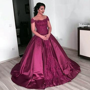 Vintage Lace Off The Shoulder Ball Gowns Wedding Dresses Burgundy ,PD0706