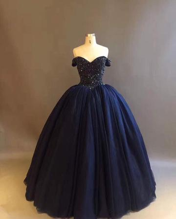 Bling Crystal Beaded Bodice Corset Navy Blue Ball Gowns Wedding Dresses Off The Shoulder