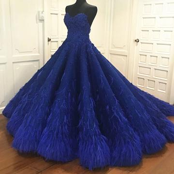 Romantic Lace Sweetheart Bodice Corset Feather Ball Gown Prom Dresses,PD0717