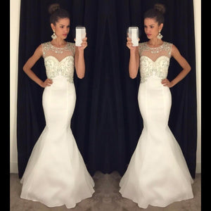 elegant white mermaid formal long evening dress,HB197