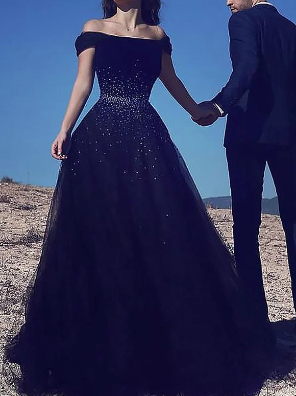 Off Shoulder Black Tulle Long Chic Prom Dress 2019,B070