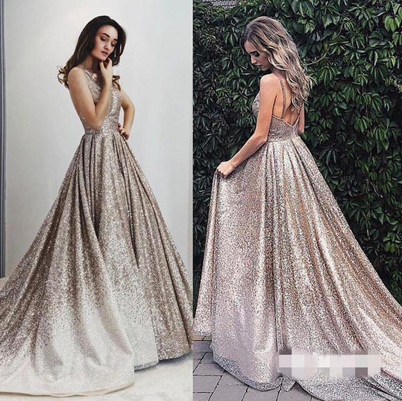 Elegant Chic Sparkle A-line Long Prom Dresses 2019 Party Dress,HO95