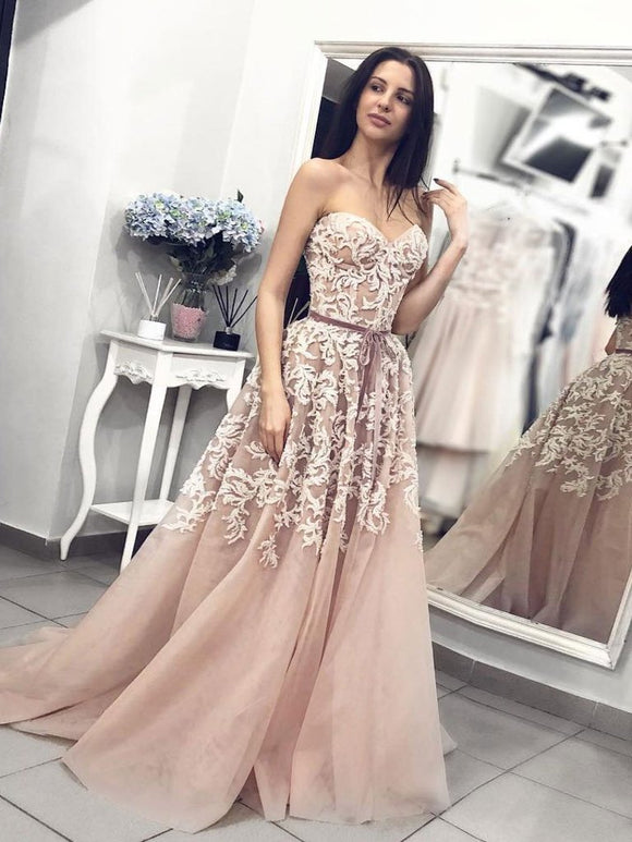 sweetheart long champagne lace appliques prom dress with side slit,HB185