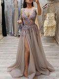 grey v-neck soft tulle long sexy prom dress with side slit,HB175