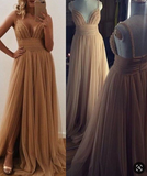 spaghetti straps gold tulle with side slit formal long prom dress,HB173