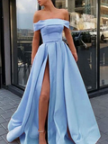 off shoulder prom dress, long prom dress, formal prom dress, blue prom dress with side slit, BD5685