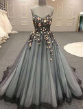 sweetheart A-line black tulle party dress long charming prom dress,HB05