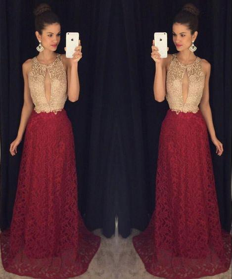 charming ivory top and burgundy skirt lace long evening dress,HB02