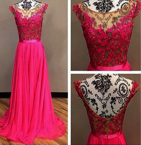 lace Prom Dresses,hot pink Prom Dress,Dresses For Prom,beauty Prom Dress,long Prom Dress,BD896