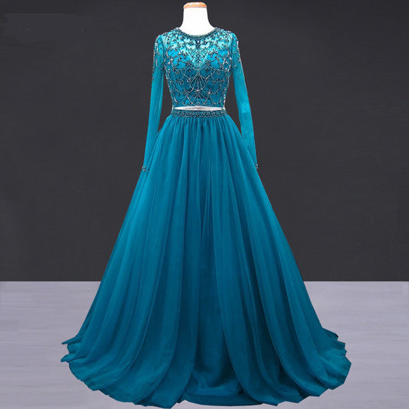 long sleeves teal two pieces prom dress long party dress,HB193