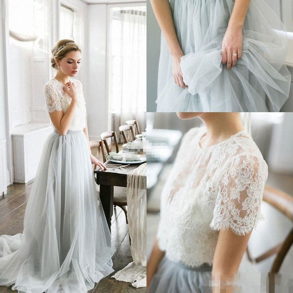modest two pieces short sleeves lace top tulle long skirt prom dress,HB62