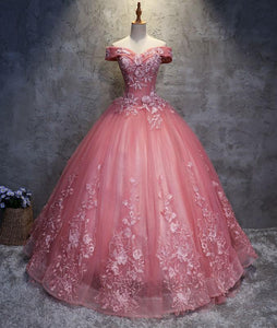 Pink sweetheart tulle lace applique long prom gown, sweet 16 dresses,PD46004