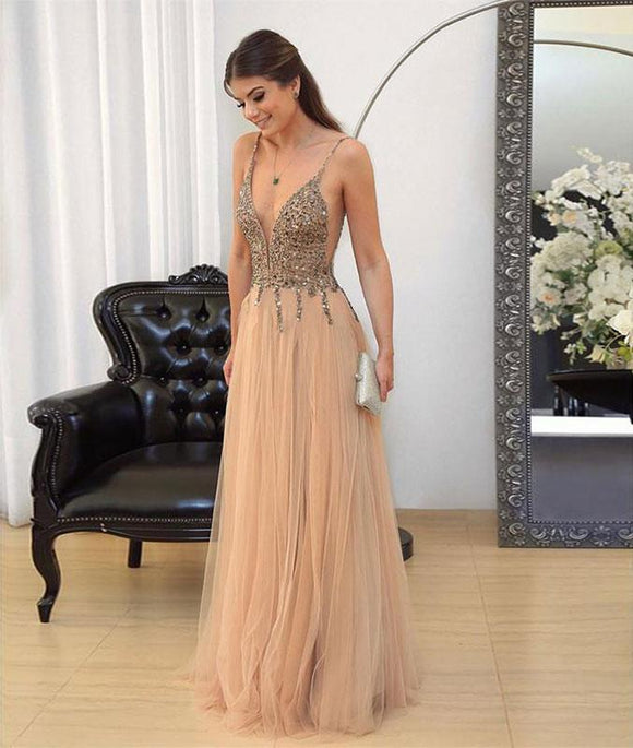 v neck sequin tulle long prom dresses, evening dresses,PD46007