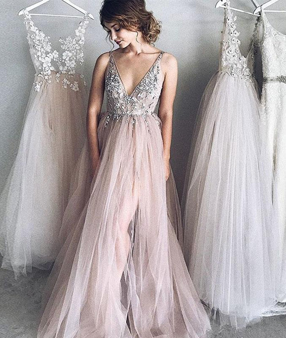 Elegant v neck tulle long prom dress, evening dresses,PD46008
