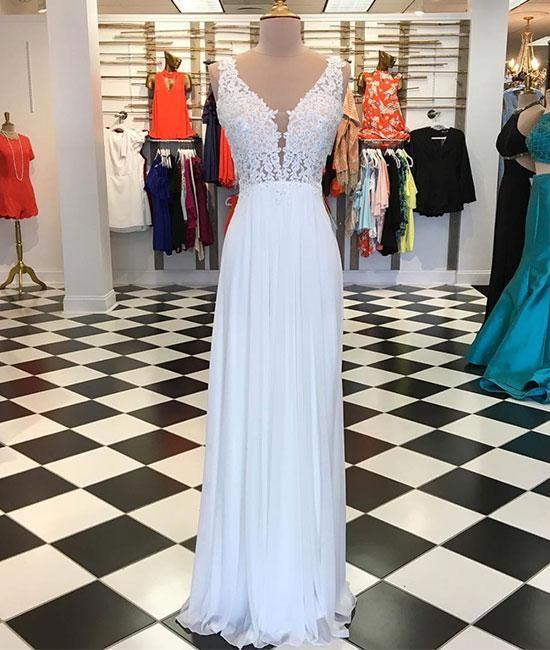 White A-line chiffon lace long prom dress, white bridesmaid dresses,PD46001