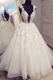 white A-line long prom dress elegant appliques wedding dress, HB2088