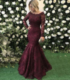 burgundy lace long sleeves formal floor-length evening dress,HB03