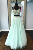 spaghetti straps two pieces mint green long prom dress, HB2090