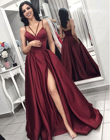 Burgundy Prom Dress,Long Prom Dress, Side Slit Prom Dress,Spaghetti Straps Prom Dress ,BD68710