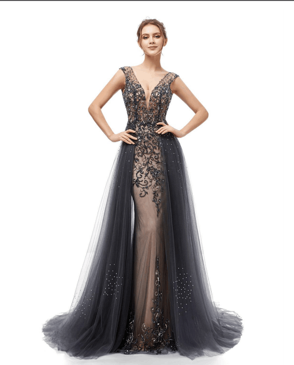 dark grey v-neck formal 2019 long prom dress,HB182