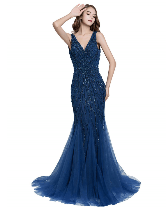 v-neck navy blue mermaid beaded long evening dress,HB184