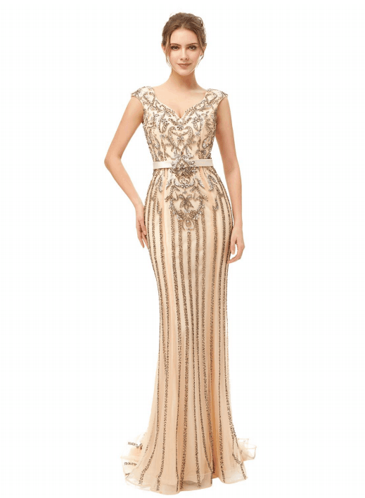 gold luxury beaded formal mermaid long evening dress,HB183