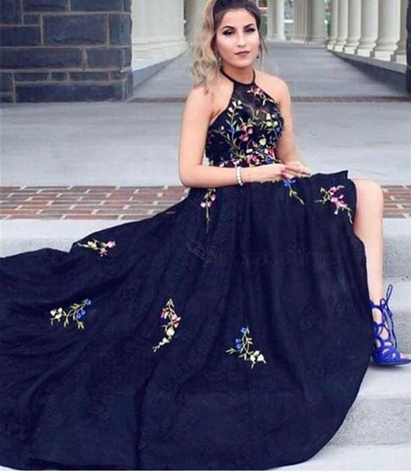 Chic black popular 2019 new style long affordable prom dress,HB07