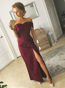 off shoulder simple side slit burgundy long evening dress,HB48