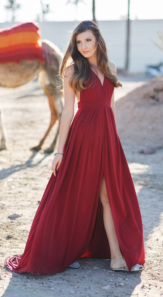 burgundy chiffon v-neck side slit long simple prom dress,HB65