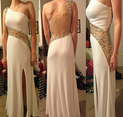 white Prom Dress,long Prom Dress,charming Prom dress,one shoulder prom Dress,evening dress,BD617