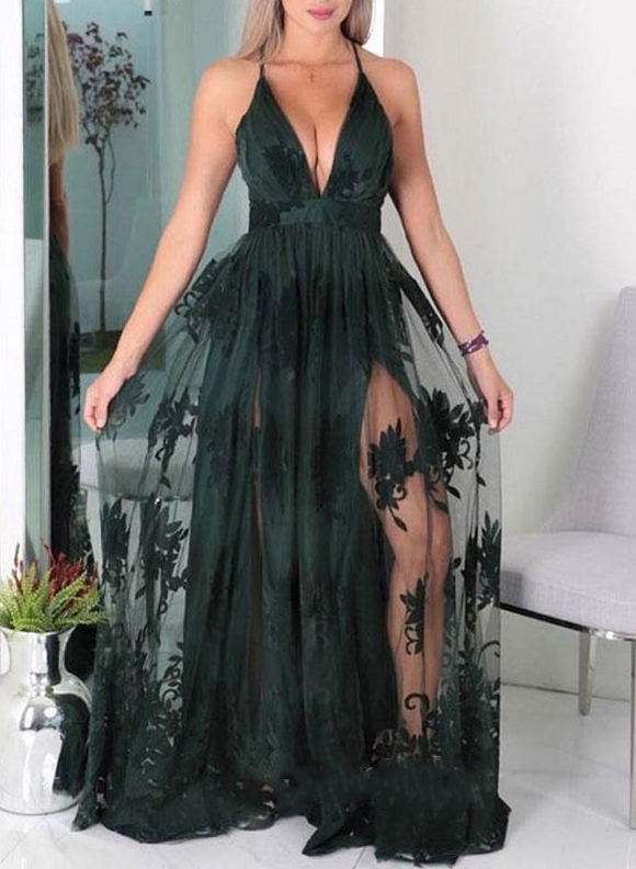 Dark Green Sexy Side Slit V-neck Long Prom Dresses 2019 Party Dress,HO96