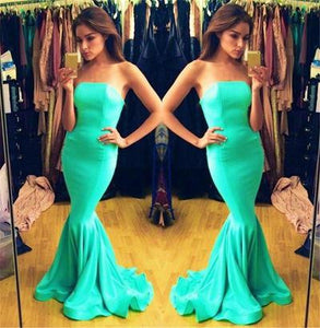 blue Prom Dress,long Prom Dress,strapless Prom dress,mermaid prom Dress,evening dress,BD612