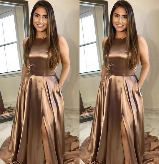 copper-colored long side slit sweep train long prom dress,HB04