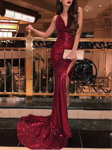 Sexy Burgundy Sequin dazzling formal long mermaid side slit prom dress, BD5692
