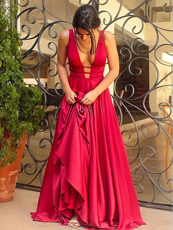 Red open back dazzling formal deep v neck long prom dress, BD5693