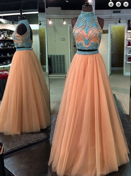 Two Pieces Evening Dress,Tulle Prom Dress,High Neck prom dress,Charming prom dress,Long prom dress,BD2900